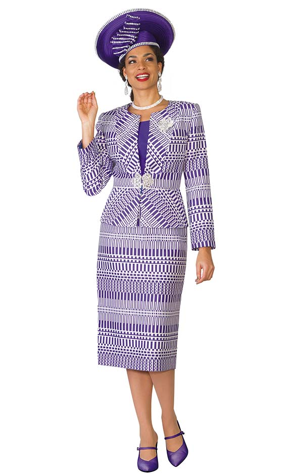 Lily and Taylor 3863 - Jacquard Fabric Skirt Suit With Multi Directional Pattern Print