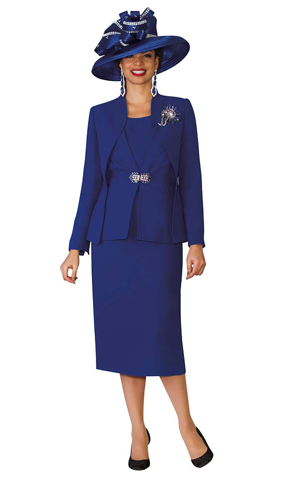 Lily and Taylor 3936 - French Crepe Fabric Skirt Suit With Layered Design Jacket
