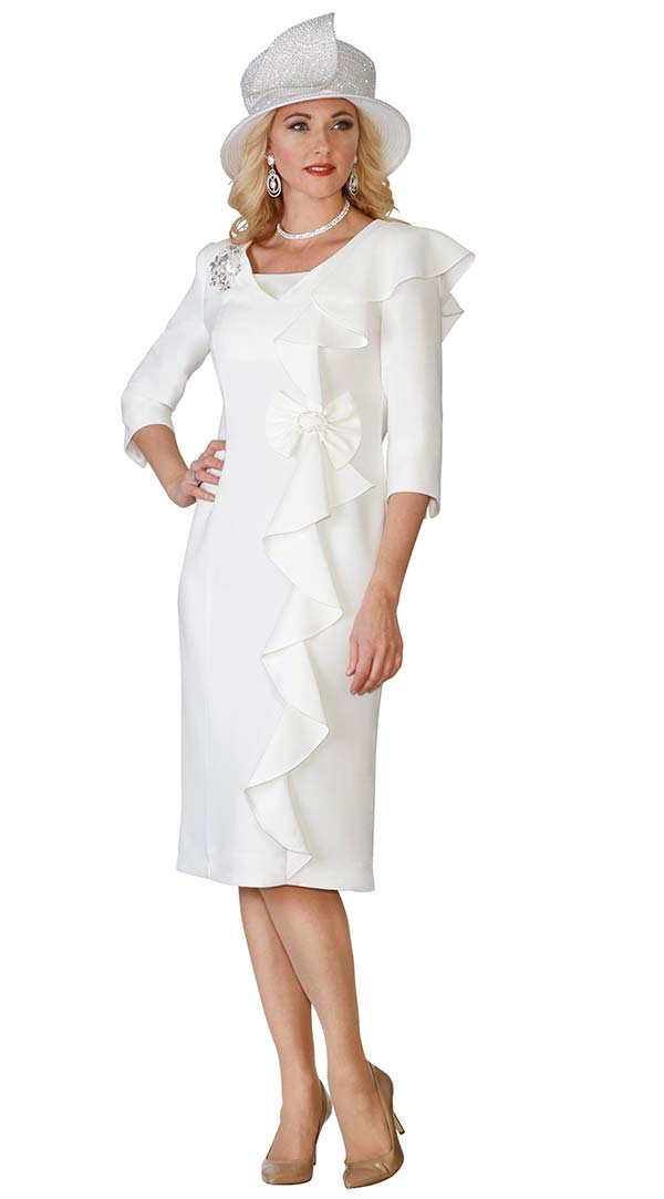 Lily and Taylor 3943-Ivory - Ladies Church Dress With Ruffle & Bow Adornment