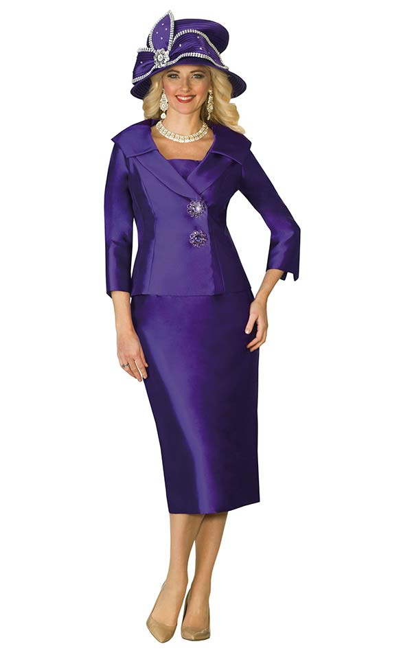 Lily and Taylor 3961 - Silky Twill Womens Suit With Wide Shawl Lapel