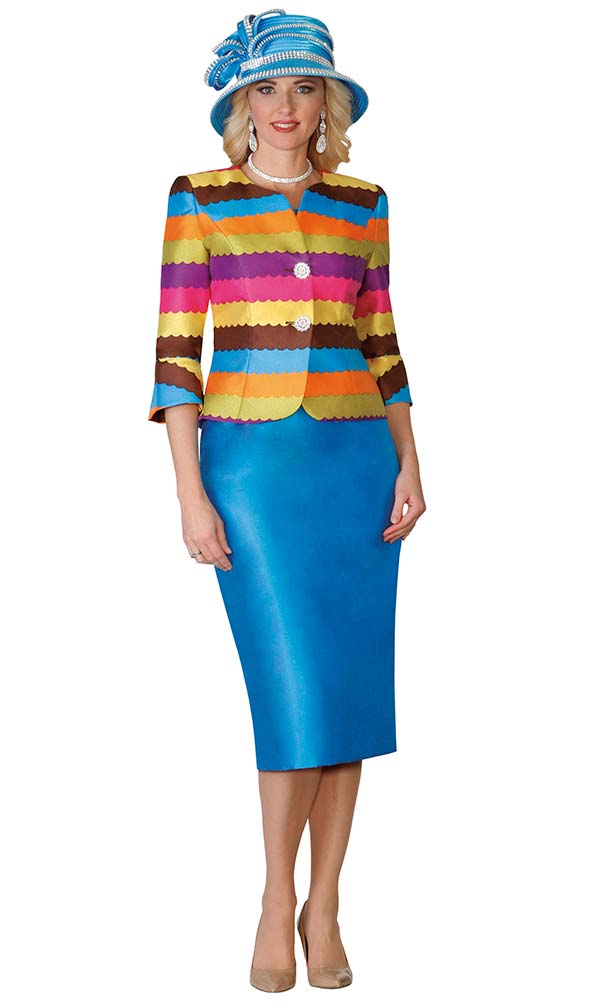 Lily and Taylor 3998 - Silky Twill Womens Suit With Multi Color Jacket