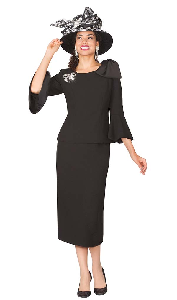 Lily and Taylor 4010-Black - Skirt Suit With Three Quarter Bell Cuff Sleeves