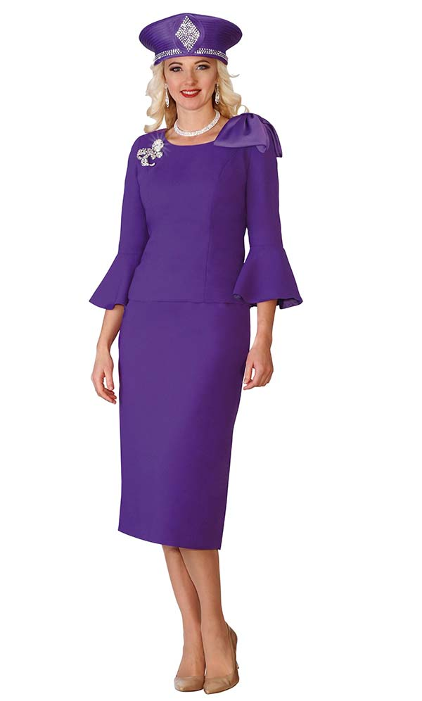 Lily and Taylor 4010-Purple - Skirt Suit With Three Quarter Bell Cuff Sleeves