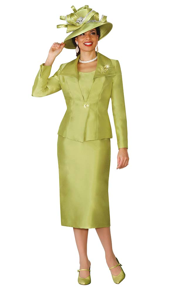 Lily and Taylor 4014 - Silky Twill Ladies Church Suit With Wing Collar Jacket