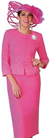 Lily and Taylor 4019-Fuchsia - Crepe Fabric Church Suit With Rhinestones