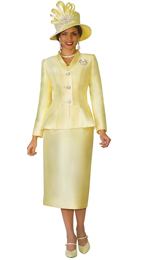 Lily and Taylor 4022 - Silky Twill Womens Skirt Suit With Short Stand-Up Collar