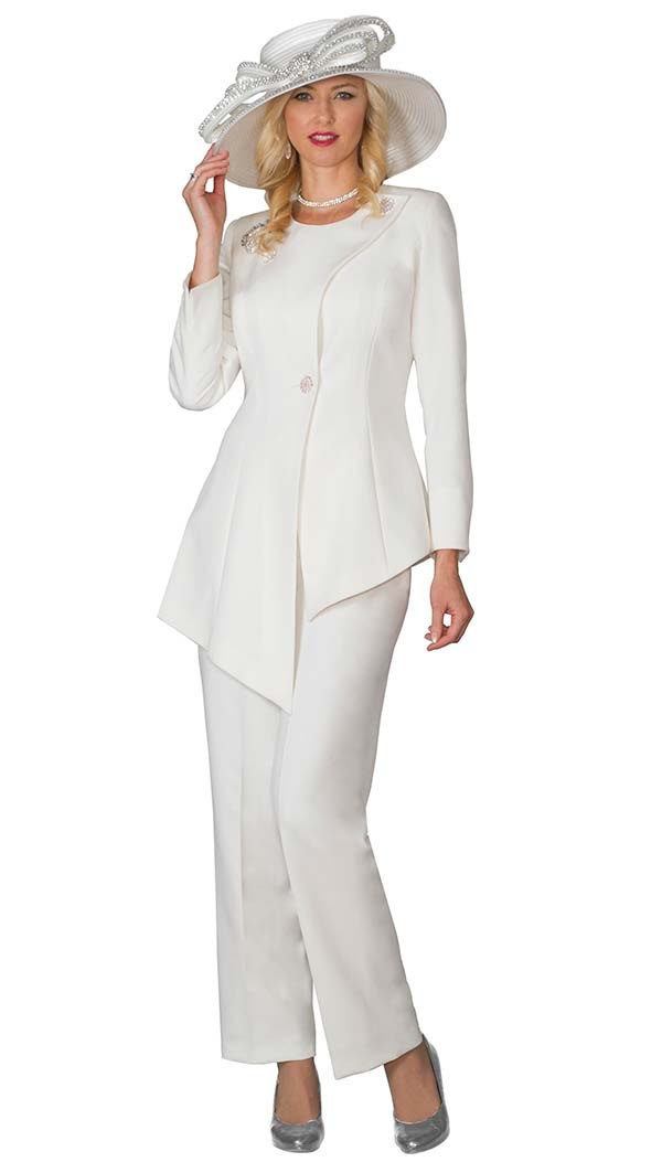 Lily and Taylor 4028-Ivory - Womens Pant Suit With Asymmetric Style Jacket