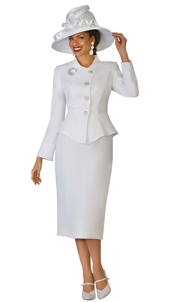 Lily and Taylor 4046 - French Crepe Fabric Skirt Suit With Flared Jacket