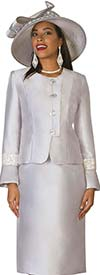 Clearance Lily and Taylor 4047 - Silky Twill Womens Skirt Suit With Rhinestones
