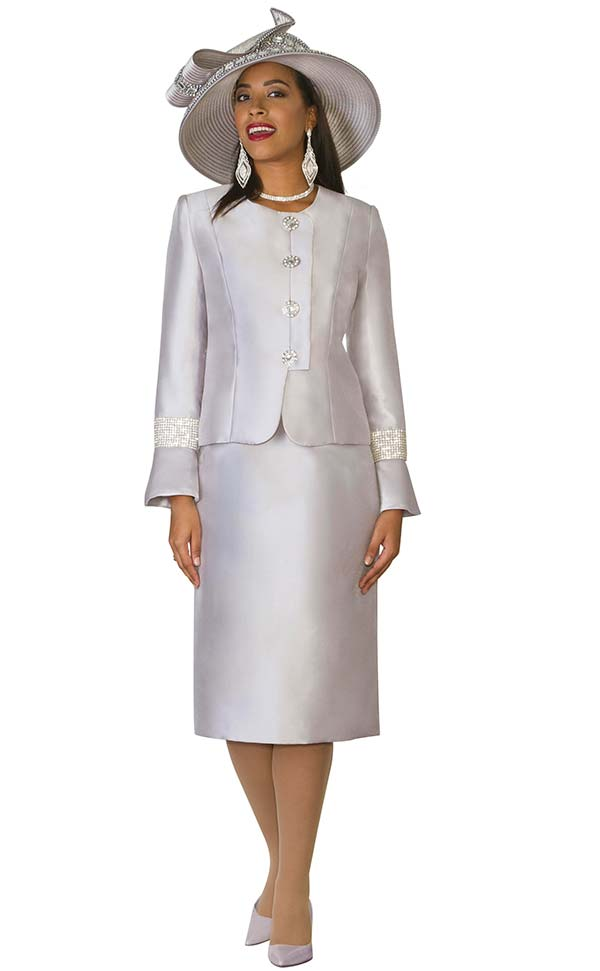 Lily and Taylor 4047 - Silky Twill Womens Skirt Suit With Rhinestones