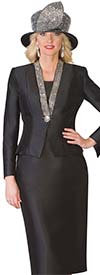Lily and Taylor 4062 - Silky Twill Womens Skirt Suit With Rhinestone Embellished Jacket