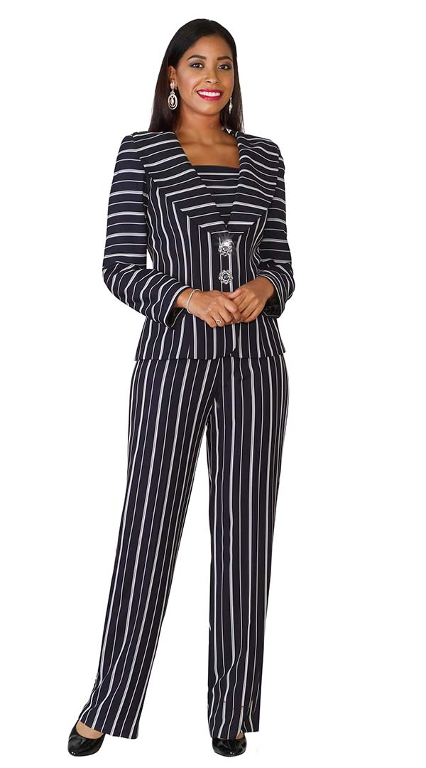 Lily and Taylor 4070 - Womens Pant Suit With Multi Directional Stripe Design