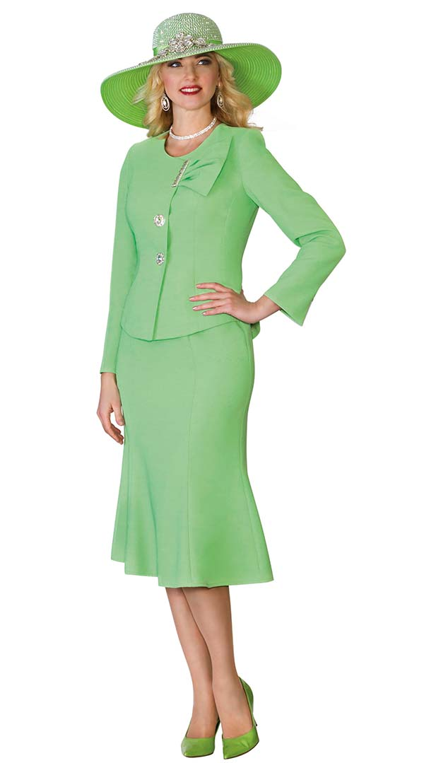 Lily and Taylor 4080-Green - French Crepe Fabric Flared Skirt Suit With Jewel Neckline