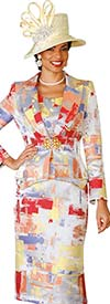 Lily and Taylor 4084 - Womens Skirt Suit With Multi Color Print