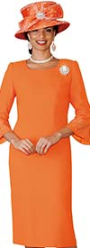 Clearance Lily and Taylor 4092-Orange - French Crepe Church Dress With Rhinestones