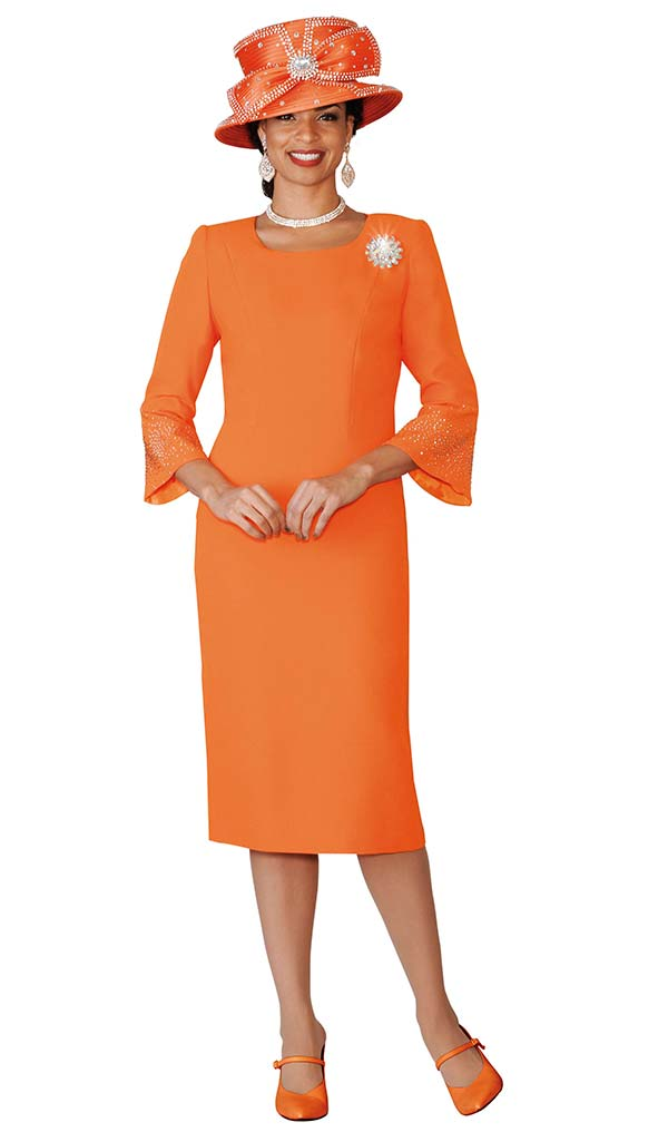 Lily and Taylor 4092-Orange - French Crepe Church Dress With Rhinestones