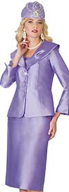 Lily and Taylor 4095-Lavender - Silky Twill Womens Church Suit With Wide Over Shoulder Collar