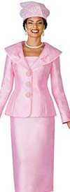 Lily and Taylor 4095-Pink - Silky Twill Womens Church Suit With Wide Over Shoulder Collar