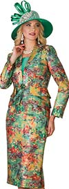 Lily and Taylor 4097 - Multi Color Womens Skirt Suit With Vee Neckline