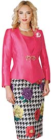 Lily and Taylor 4099-Melon - Skirt Suit With Floral & Houndstooth Print