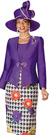 Lily and Taylor 4099-Purple - Skirt Suit With Floral & Houndstooth Print
