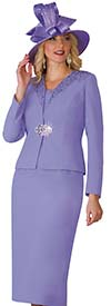 Lily and Taylor 4101-Lavender - French Crepe Fabric Skirt Suit With Embellished Jacket