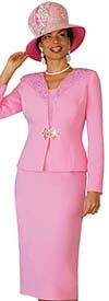 Lily and Taylor 4101-Pink - French Crepe Fabric Skirt Suit With Embellished Jacket