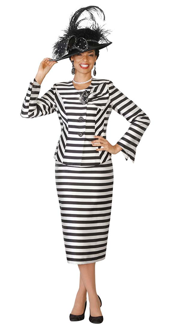 Lily and Taylor 4102 - Skirt Suit With Multidirectional Stripe Design