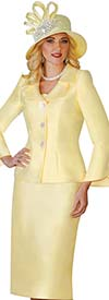 Lily and Taylor 4107 - Womens Skirt Suit With Button Bell Sleeves & Layered Collar