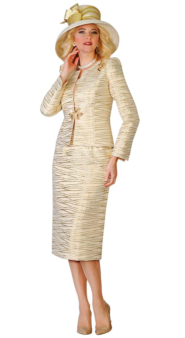 Lily and Taylor 4108-Gold - Novelty Fabric Skirt Suit With Metallic Pattern Design