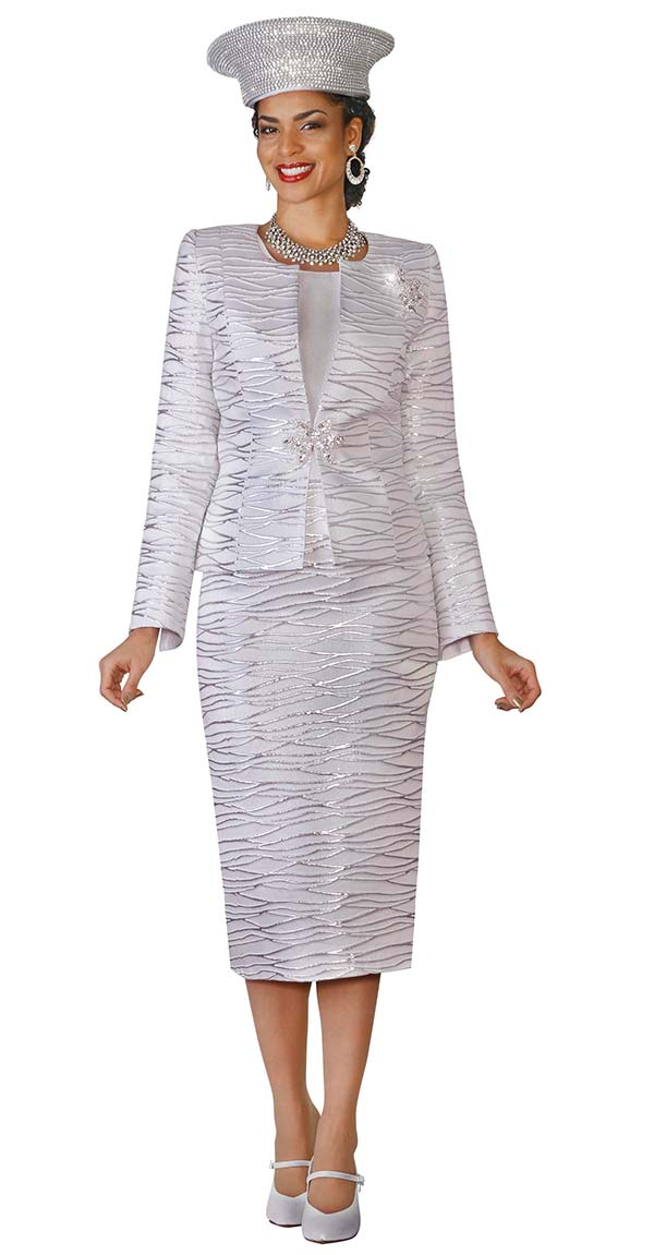 Lily and Taylor 4108-Silver - Novelty Fabric Skirt Suit With Metallic Pattern Design