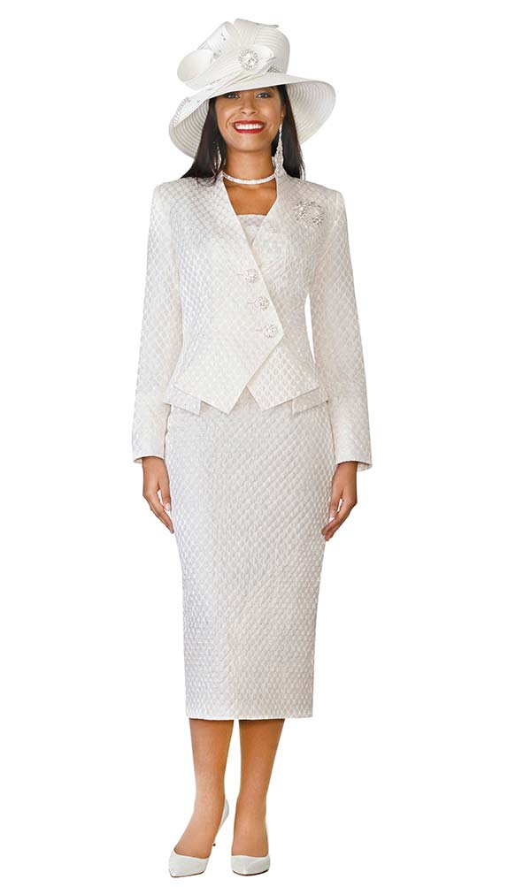 Lily and Taylor 4110 - Skirt Suit With Modified Three Button Double Breasted Jacket