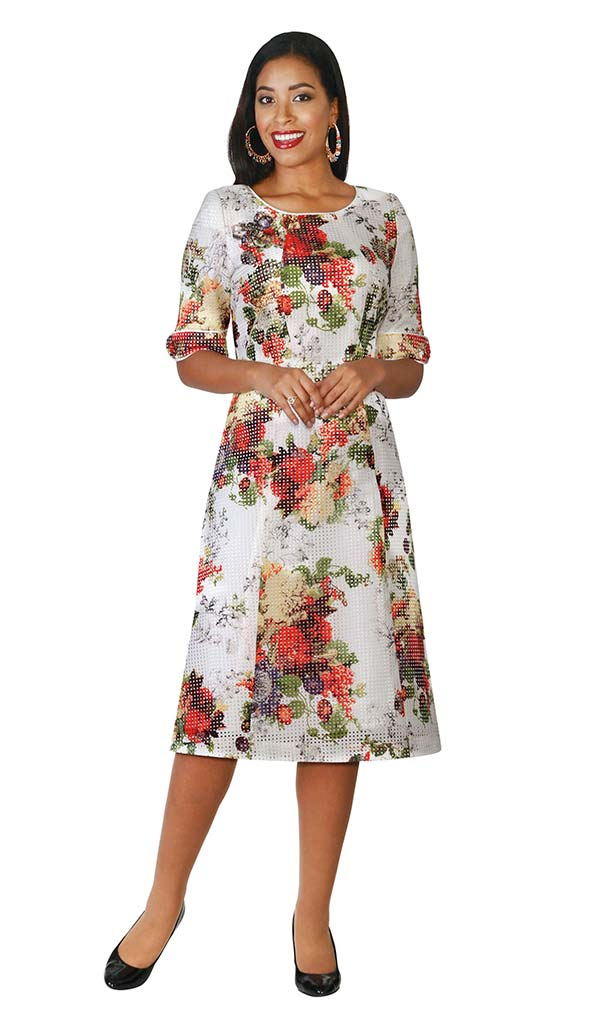 Lily and Taylor 4112 - Novelty Fabric Multi Floral Print Dress