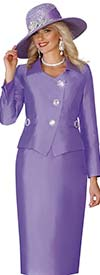 Lily and Taylor 4114-Lavender - Silky Twill Womens Church Suit With Johnny Collar Jacket