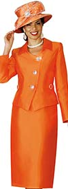 Lily and Taylor 4114-Orange - Silky Twill Womens Church Suit With Johnny Collar Jacket