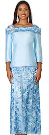 Lily and Taylor 4121 - Silky Twill & Lace Ladies Skirt Suit With Off Shoulder Collar