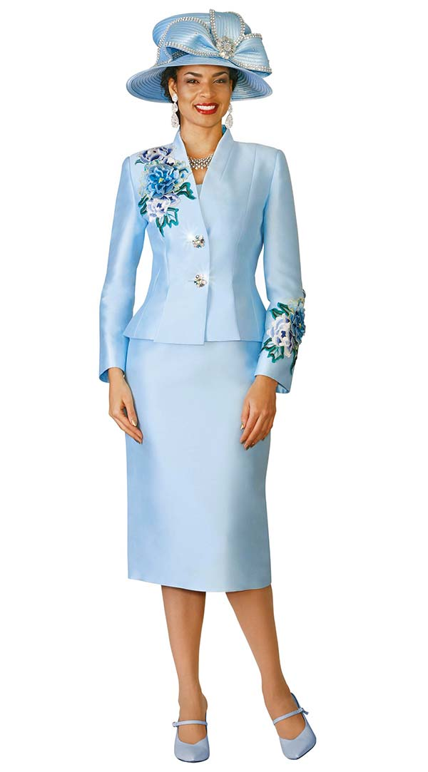 Lily and Taylor 4122-Blue - Silky Twill Womens Church Suit With Floral Embroidery Trim