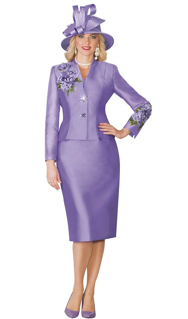 Lily and Taylor 4122-Lavender - Silky Twill Womens Church Suit With Floral Embroidery Trim