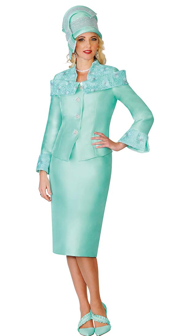 Lily and Taylor 4125 Skirt Suit With Off Shoulder Collar & Vented Bell Cuffs