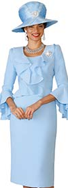 Lily and Taylor 4129-Blue - French Crepe Ruffle Design Dress