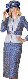 Lily and Taylor 4131 - Multi Color Jacquard Fabric Womens Skirt Suit