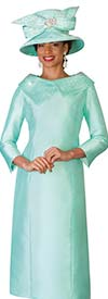 Lily and Taylor 4135-Mint - Ladies Church Dress With Embellished Portrait Collar