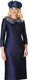 Lily and Taylor 4135-Navy - Ladies Church Dress With Embellished Portrait Collar