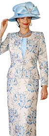 Lily and Taylor 4136 - Novelty Fabric Womens Church Suit With Floral Print