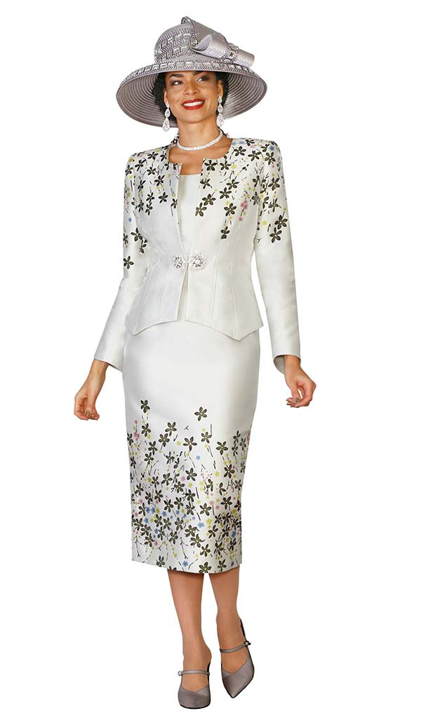 Lily and Taylor 4137 Womens Skirt Suit With Multi Floral Print Design