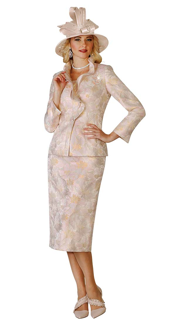 Lily and Taylor 4139 - Ruffled Lapel Womens Skirt Suit With Multi Pattern Print