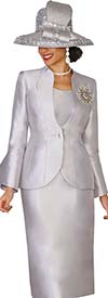 Lily and Taylor 4140-Silver - Silky Twill Skirt Suit With Vented Cuff Sleeves
