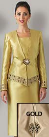 Clearance Lily and Taylor 3484 Womens Lace Suit With Rhinestones