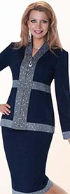 Liorah Knits 7138 - Womens Two Tone Knit Skirt Suit