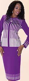Liorah Knits 7213 - Womens Embellished Two Tone Striped Knit Skirt Suit